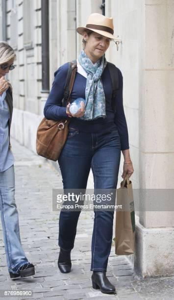 Princess Elena is seen visiting Juan Valentin Urdangarin for his 18th birthday on September 30 2017 in Geneva Switzerland