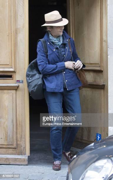 Princess Elena is seen visiting Juan Valentin Urdangarin for his 18th birthday on October 1 2017 in Geneva Switzerland