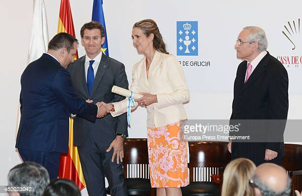 Princess Elena of Spain and Alberto Nunez Feijoo attend Galicia Day in Madrid on July 10 2014 in Madrid Spain