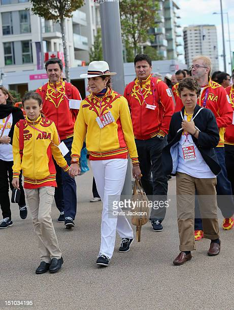 Princess Elena of Spain and her children Felipe Juan Froilan and Victoria Federica Marichalar visit the Athelete's Village on day 2 of the London...