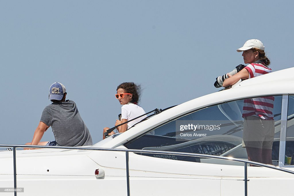 Princess Elena of Spain (R) and her children Felipe Juan Froilan Marichalar and Victoria Federica Marichalar on board of the Somny during the 34th Copa del Rey Mapfre Sailing Cup day 3 on August 5, 2015 in Palma de Mallorca, Spain.