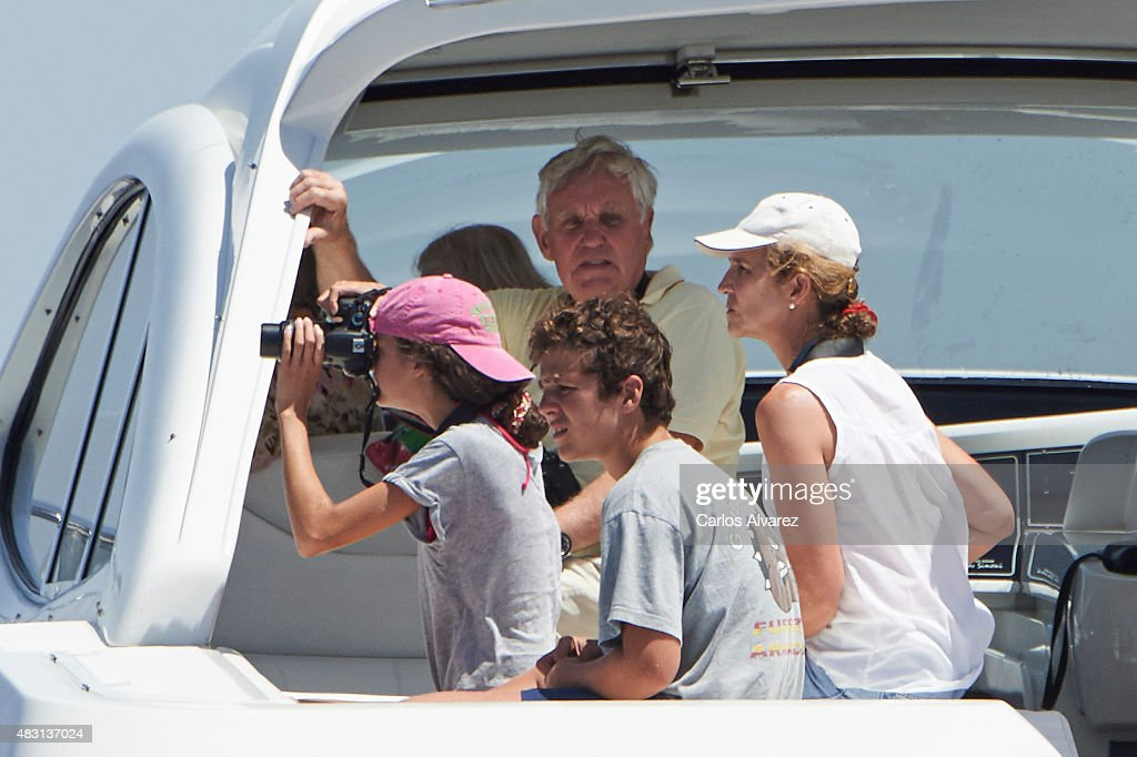 Princess Elena of Spain (R) and her children Felipe Juan Froilan Marichalar and Victoria Federica Marichalar on board of the Somny during the 34th Copa del Rey Mapfre Sailing Cup day 4 on August 6, 2015 in Palma de Mallorca, Spain.