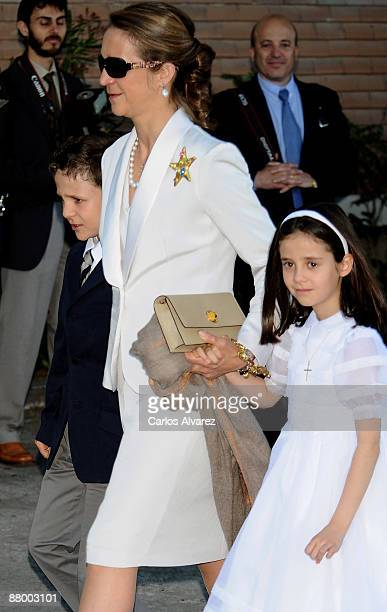 Princess Elena of Spain and her children Juan Froilan and Victoria Federica attend Victoria Federica de Marichalar y de Borbon first Holy Communion...