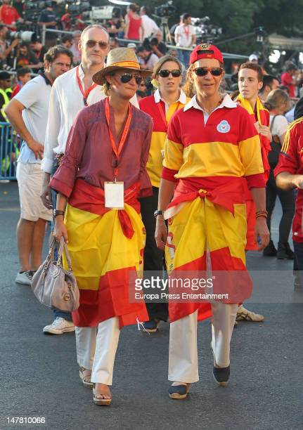 Princess Elena of Spain and her cousin Maria Zurita attend UEFA EURO 2012 Champions Spain Victory Parade And Celebrations on July 2, 2012 in Madrid,...