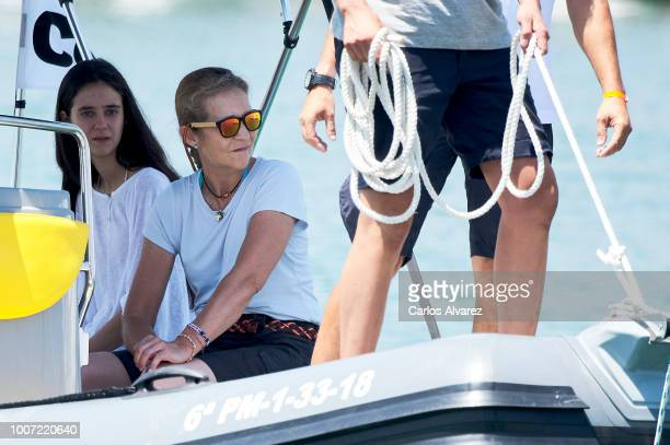 Princess Elena of Spain and her daugther Victoria Federica Marichalar Borbon are seen the previus day of 37th Copa del Rey Mapfre Sailing Cup at the...