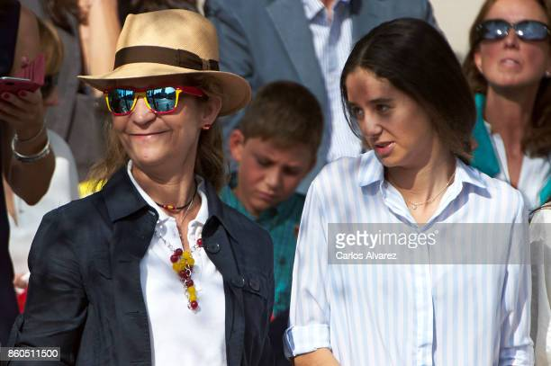 Princess Elena of Spain and her daugther Victoria Federica Marichalar attend the National Day Military Parade 2017 on October 12 2017 in Madrid Spain