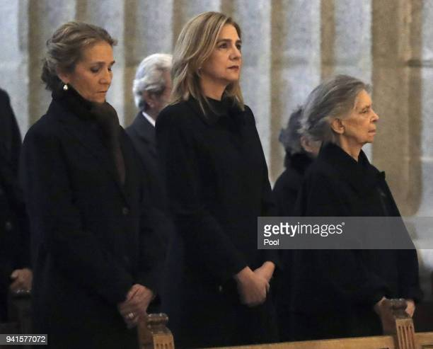 Princess Elena of Spain and her sister Cristina de Bourbon attend a Mass marking the 25th anniversary of death of Conde de Barcelona father of King...