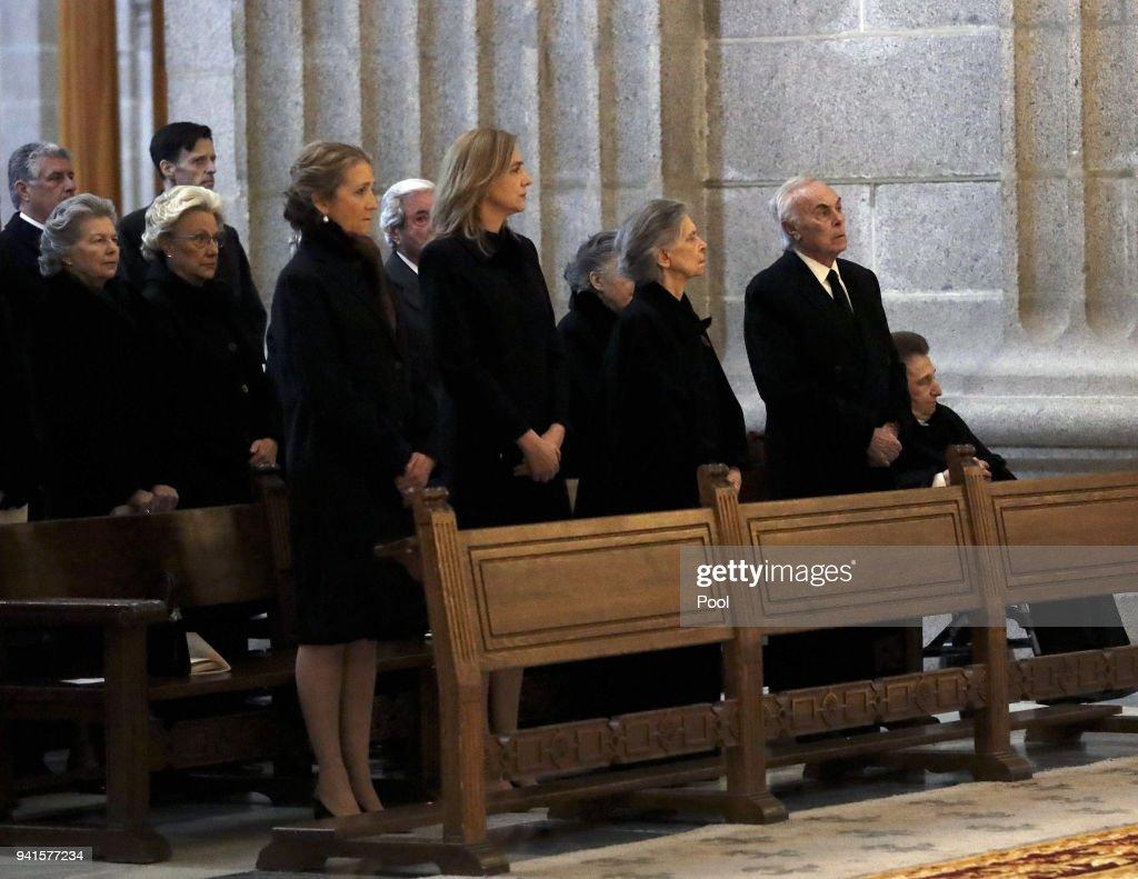 Princess Elena of Spain (L) and her sister Cristina de Bourbon (2C) attend a Mass marking the 25th anniversary of death of Conde de Barcelona, father of King Juan Carlos, at San Lorenzo del Escorial Monastery on April 3, 2018 in El Escorial, Spain.