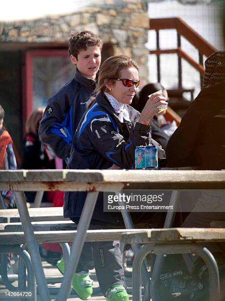 Princess Elena of Spain and her son Felipe Juan Froilan are seen skiing on April 1 2012 in Baqueira Beret Spain