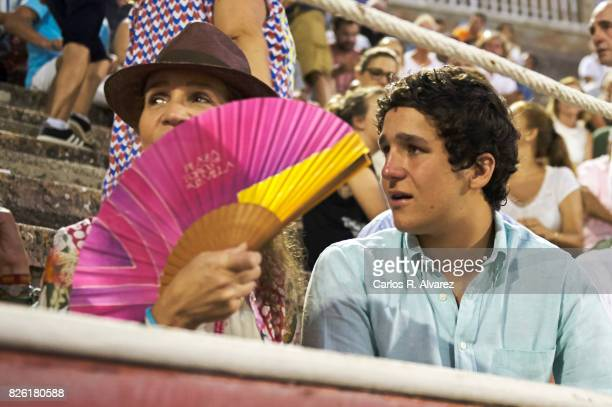 Princess Elena of Spain and her son Felipe Juan Froilan de Marichalar y Borbon attend the Bullfights at the Palma de Mallorca Bullring on August 3...