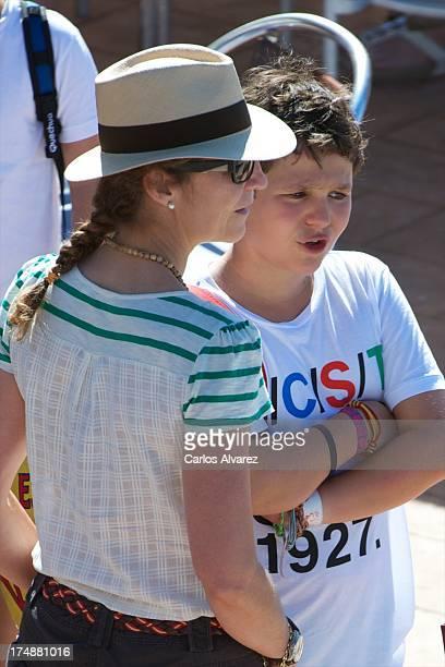 Princess Elena of Spain and her son Felipe Juan Froilan Marichalar arrive at Calanova Sailing School on July 29 2013 in Palma de Mallorca Spain