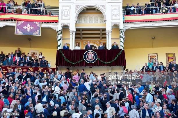 Princess Elena of Spain and King Juan Carlos attend La Beneficiencia Bullfight at Las Ventas Bullring on June 6 2018 in Madrid Spain
