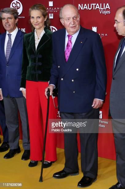 Princess Elena of Spain and King Juan Carlos attend 'San Isidro 2018' Bullfights Fair Presentation at Las Ventas Bullring on March 22 2019 in Madrid...