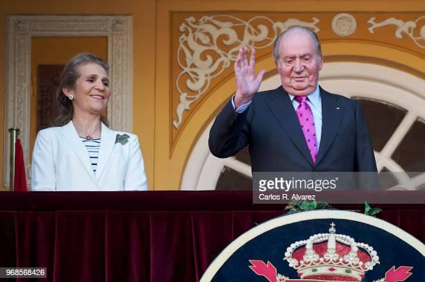 Princess Elena of Spain and King Juan Carlos attends La Beneficiencia Bullfight at Las Ventas Bullring on June 6 2018 in Madrid Spain