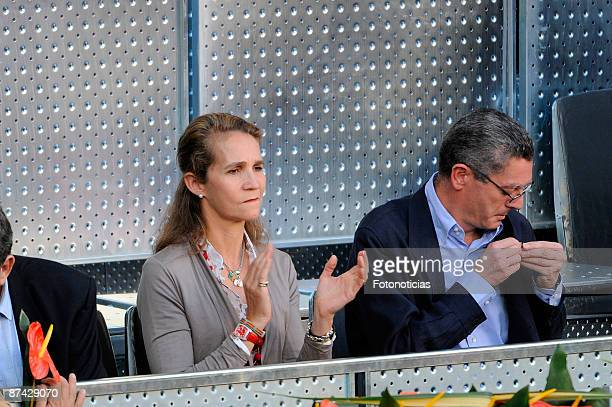 Princess Elena of Spain and Madrid Mayor Alberto Ruiz Gallardon attend Madrid Open tennis tournament at La Caja Magica on May 15 2009 in Madrid Spain