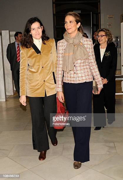 Princess Elena of Spain and Minister Angeles Gonzalez Sinde attend the opening of 'Los Mundos de Gonzalo Torrente Ballester' exhibition at the...
