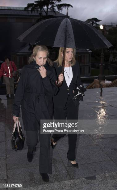 Princess Elena of Spain and Princess Cristina of Spain attend German Lopez Madrid's mass funeral on October 14 2019 in Madrid Spain