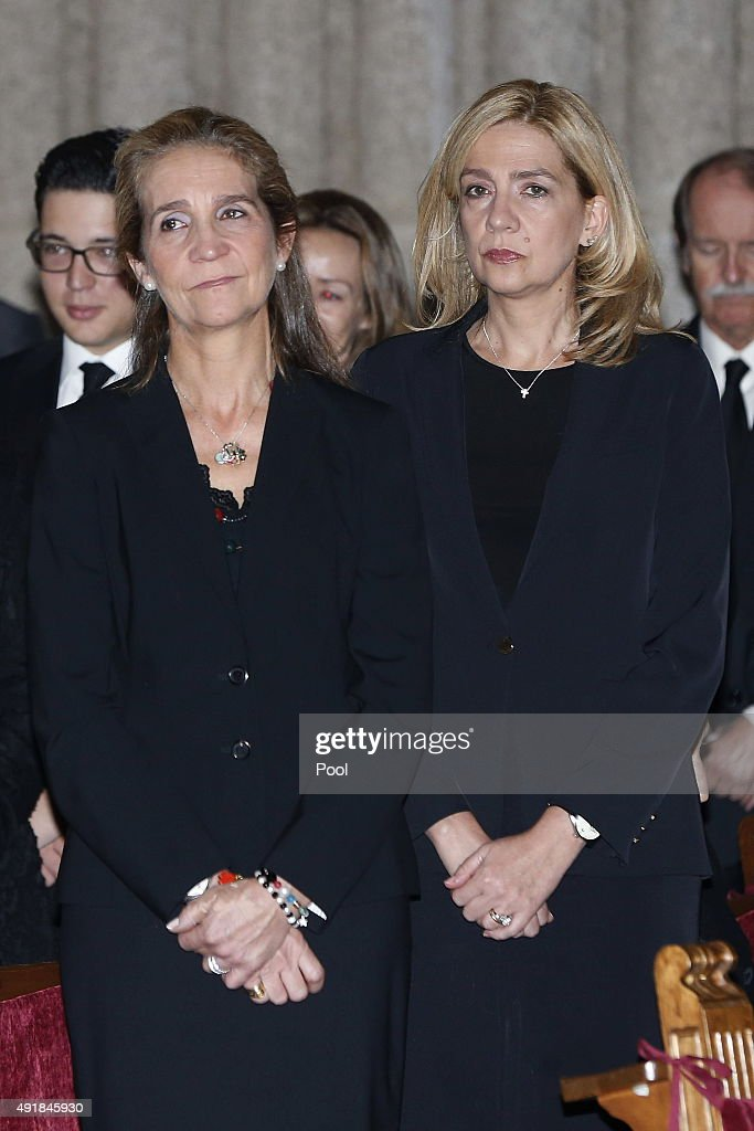 Princess Elena of Spain and Princess Cristina of Spain pay their respects at El Escorial Monastery for a Corpore Insepulto Mass of Spain's Duke of Calabria, Carlos de Borbon Dos Sicilias on October 8, 2015 in San Lorenzo de El Escorial, Spain. Carlos de Borbon was born in 1938 and attended school with King Juan Carlos, where they became very good friends. He ranked first in the line of succession after the descendants of Don Juan Carlos and Queen Sofia.