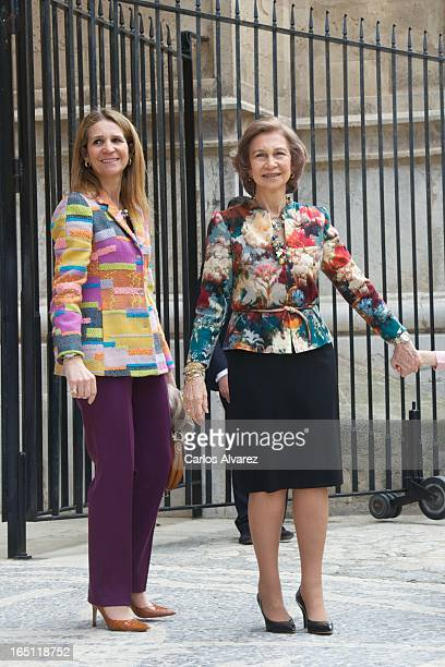Princess elena of Spain and Queen Sofia of Spain attend Easter Mass at the Cathedral of Palma de Mallorca on March 31 2013 in Palma de Mallorca Spain
