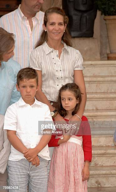 Princess Elena of Spain and sons Felipe Juan Froilan and Victoria Federica attend a photocall on August 6 2007 at Marivent Palace in Mallorca Spain