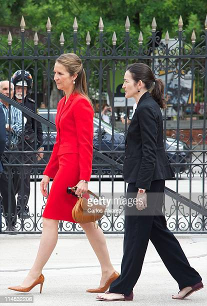 Princess Elena of Spain and Spanish Minister if Culture Angeles Gonzalez Sinde attend the opening of Madrid Book Fair 2011 at Parque del Retiro on...