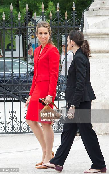 Princess Elena of Spain and Spanish Minister of Culture Angeles Gonzalez Sinde attend the opening of Madrid Book Fair 2011 at Parque del Retiro on...
