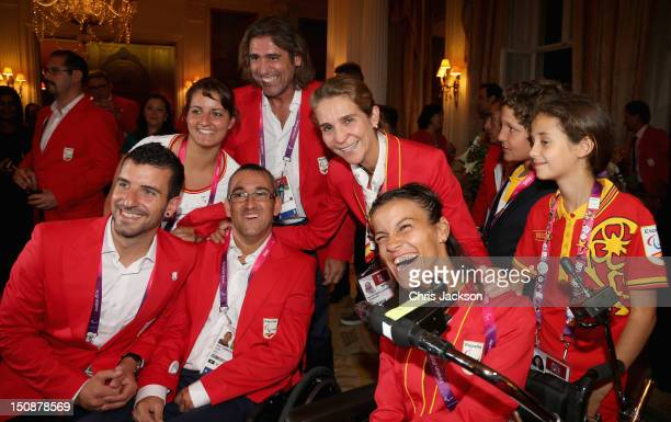 Princess Elena of Spain and Victoria Federica Marichalar meet guests as they attend a Paralympic Reception at London's Spanish Embassy on August 28...