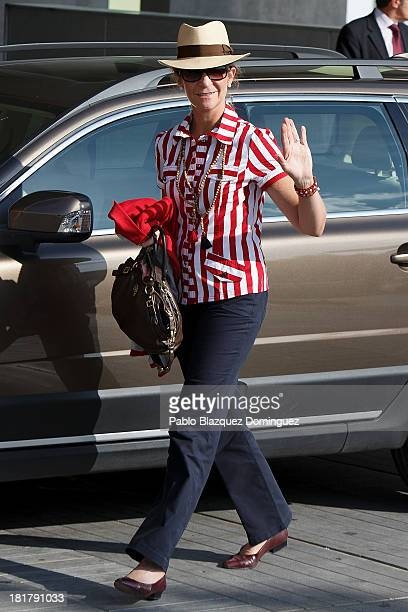 Princess Elena of Spain arrives at Quiron University hospital, where Spain's King Juan Carlos is recovering from an operation, on September 25, 2013...