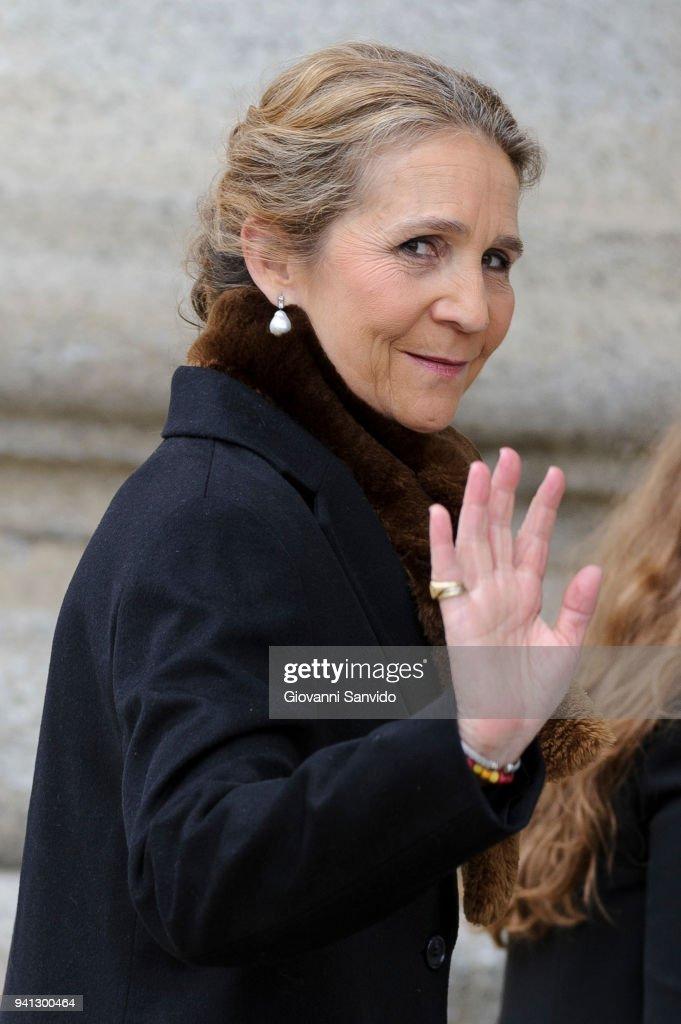 Princess Elena of Spain attends 25th Anniversary of King Juan Carlos' Father's Death at Monasterio de San Lorenzo de El Escorial on April 3, 2018 in El Escorial, Spain.