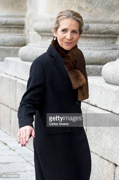 Princess Elena of Spain attends a Mass in occasion of the 25th anniversary of death of Conde de Barcelona father of King Juan Carlos at San Lorenzo...