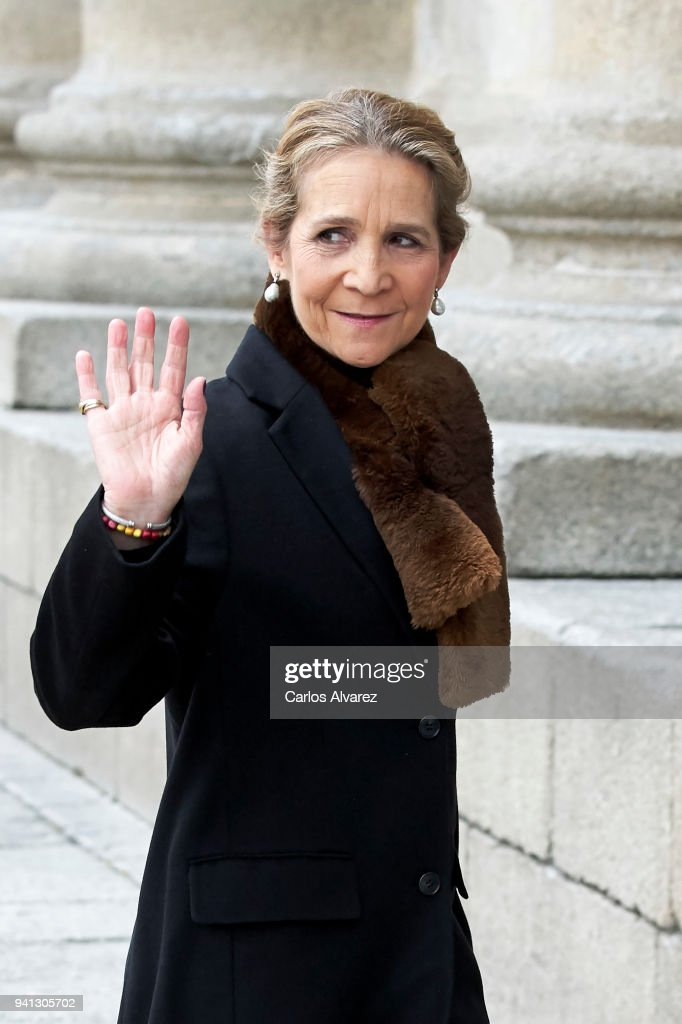 Princess Elena of Spain attends a Mass in occasion of the 25th anniversary of death of Conde de Barcelona, father of King Juan Carlos, at San Lorenzo del Escorial Monastery on April 3, 2018 in El Escorial, Spain.