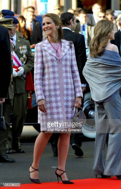 Princess Elena of Spain attends National Day Military Parade in the Paseo de la Castellana on October 12 2010 in Madrid Spain