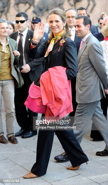 Princess Elena of Spain attends press bullfights wearing a cape bullfight bag at Plaza de Toros de Las Ventas on May 22, 2013 in Madrid, Spain.