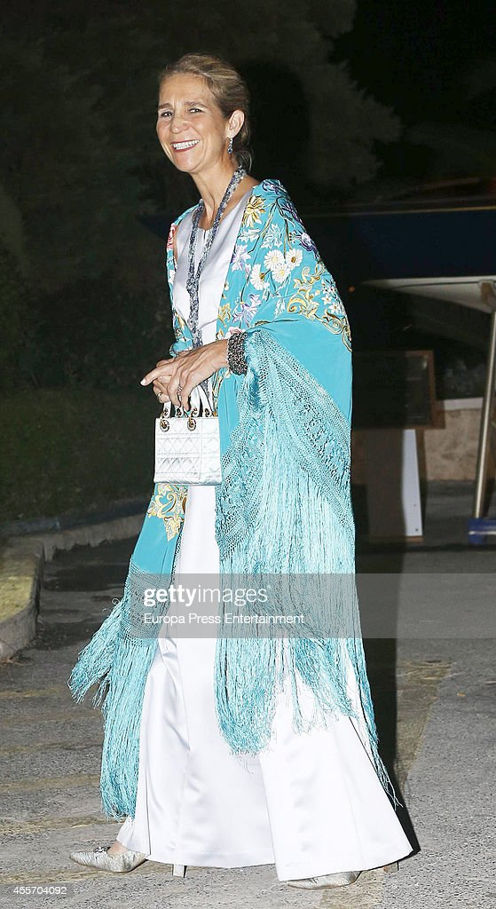 Princess Elena of Spain attends private dinner to celebrate the Golden Wedding Anniversary of King Constantine II and Queen Anne Marie of Greece Yacht Club on September 18, 2014 in Athens, Greece.