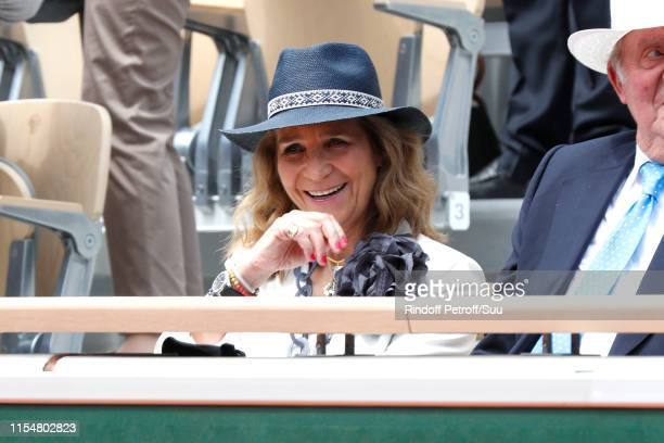 Princess Elena of Spain attends the 2019 French Tennis Open - Day Fifteen at Roland Garros on June 09, 2019 in Paris, France.