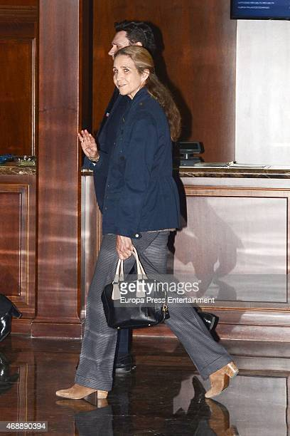 Princess Elena of Spain attends the funeral chapel for Prince Kardam of Bulgaria on April 7 2015 in Madrid Spain