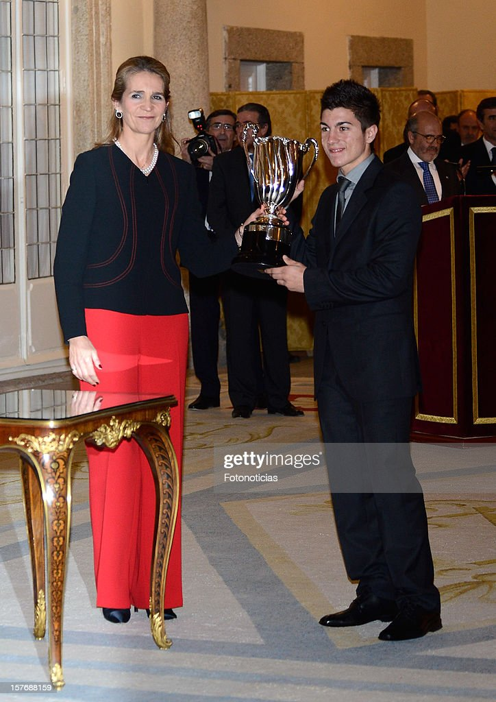 Princess Elena of Spain (L) attends the National Sports Awards ceremony at El Pardo Palace on December 5, 2012 in Madrid, Spain.