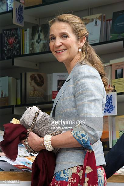 Princess Elena of Spain attends the opening of Madrid Book fair 2014 at the Retiro Park on May 30 2014 in Madrid Spain