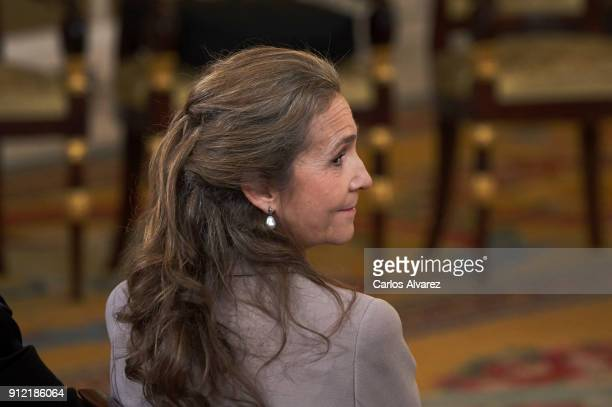 Princess Elena of Spain attends the Order of Golden Fleece ceremony at the Royal Palace on January 30 2018 in Madrid Spain Today is King's Felipe...