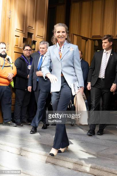 Princess Elena of Spain attends the traditional thanksgiving to Medinaceli's Christ at Jesus of Medinaceli Church on March 01, 2019 in Madrid, Spain.