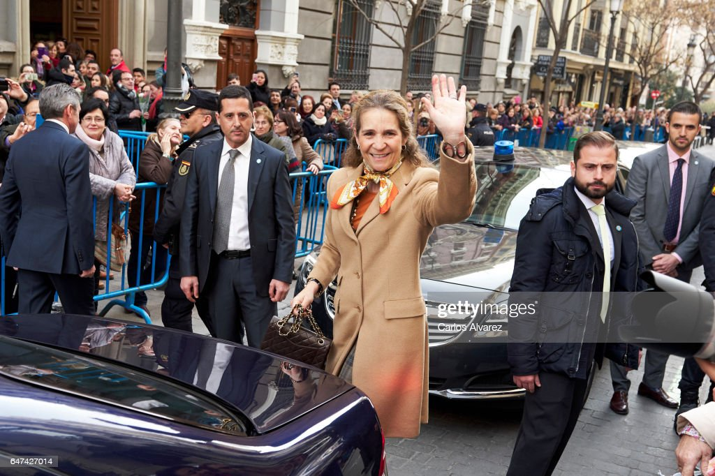 Princess Elena of Spain (C) attends the traditional thanksgiving to Medinaceli's Christ at the Jesus of Medinaceli Church on March 3, 2017 in Madrid, Spain.