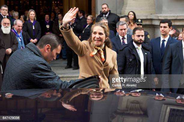 Princess Elena of Spain attends the traditional thanksgiving to Medinaceli's Christ at the Jesus of Medinaceli Church on March 3 2017 in Madrid Spain