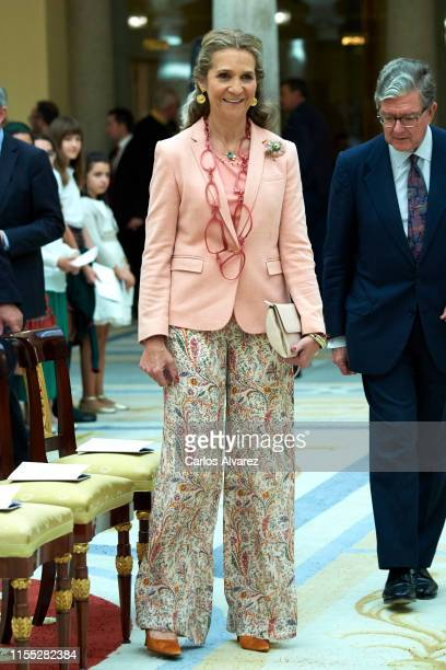 Princess Elena of Spain attends XXV Children and Youth Painting Contest at El Pardo Palace on June 11, 2019 in Madrid, Spain.