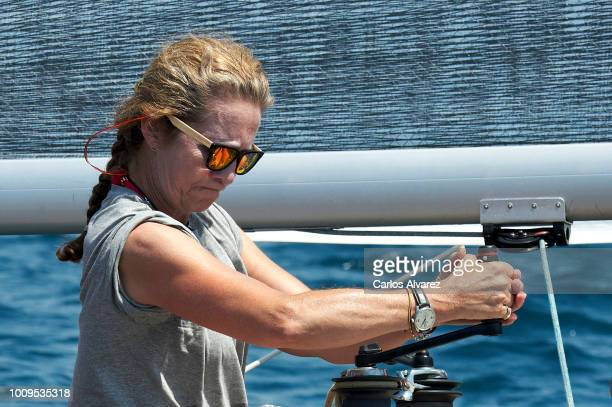 Princess Elena of Spain on board of Titia during the 37th Copa del Rey Mapfre sailing cup on August 2 2018 in Palma de Mallorca Spain