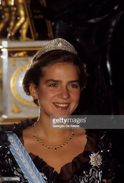 Princess Elena of Spain during a visit by Queen Elizabeth II in Madrid on October 18 1988