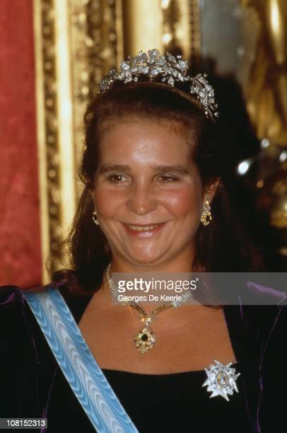 Princess Elena of Spain during a visit by Queen Elizabeth II Madrid 18th October 1988