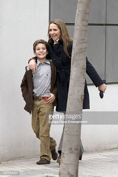 Princess Elena of Spain is seen sighting the day of her 47th birthday with her kid Felipe Juan Froilan on December 20 2010 in Madrid Spain