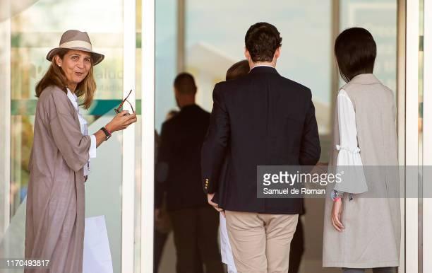 Princess Elena of Spain, Juan Froilan de Marichalar and Victoria Federica de Marichalar are seen arriving to visit King Juan Carlos at Quiron...