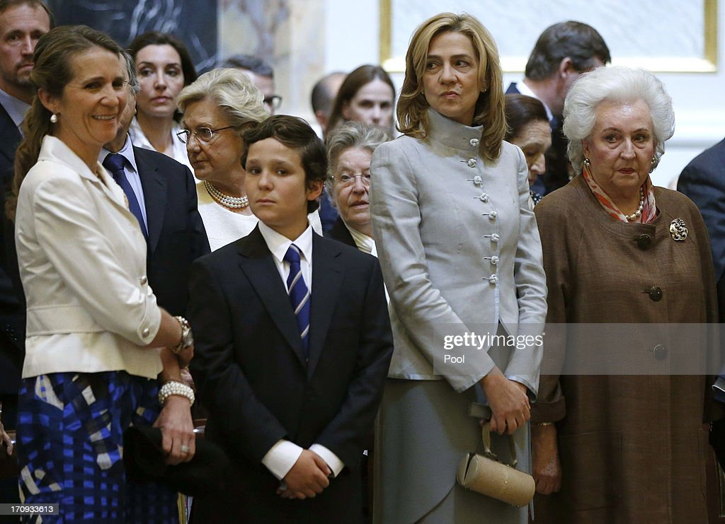 Princess Elena of Spain, Juan Froilan, Princess Cristina of Spain and King's sister Dona Pilar are seen at the Mass commemorating the centenary of the birth of Don Juan de Borbon in the chapel of the Royal Palace in Madrid, Spain on June 20, 2013. The mass was attended by the Prince of Asturias, Spain's Prime Minister Mariano Rajoy, and other senior government officials.