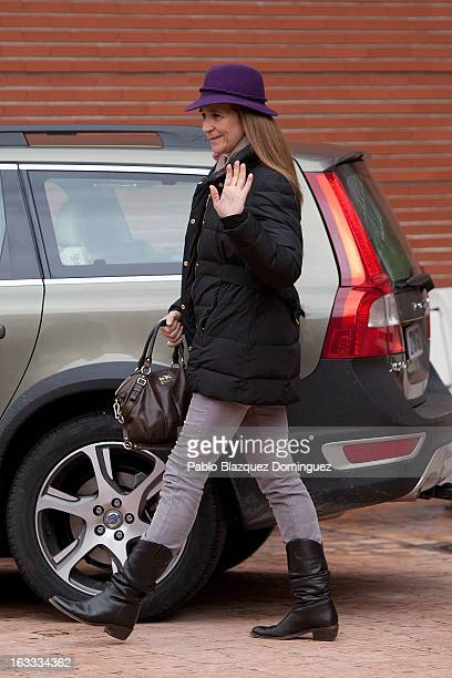 Princess Elena of Spain leaves after her visit to King Juan Carlos of Spain at La Milagrosa Hospital on March 8 2013 in Madrid Spain King Juan Carlos...
